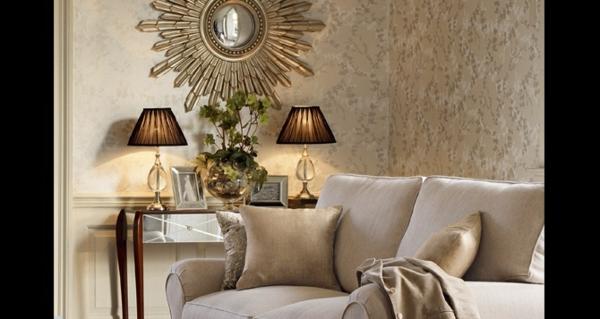 tapetenmuster spiegel sofa beige