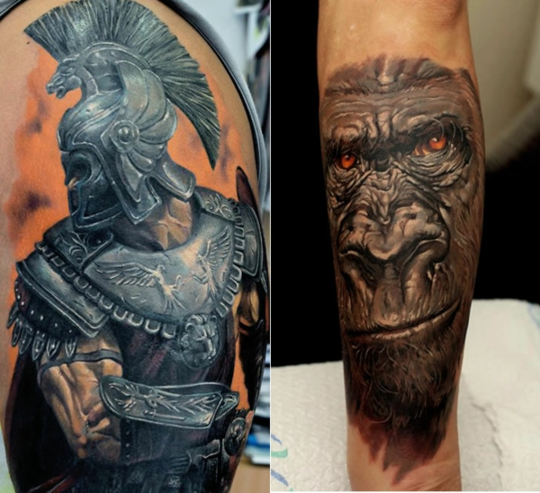 Oberarm und Unterarm Tattoo Ideen motive krieger