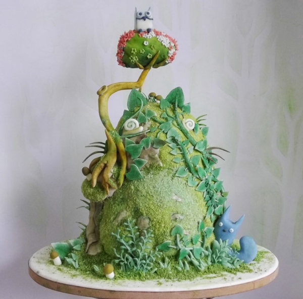 torte dekoration eule wald