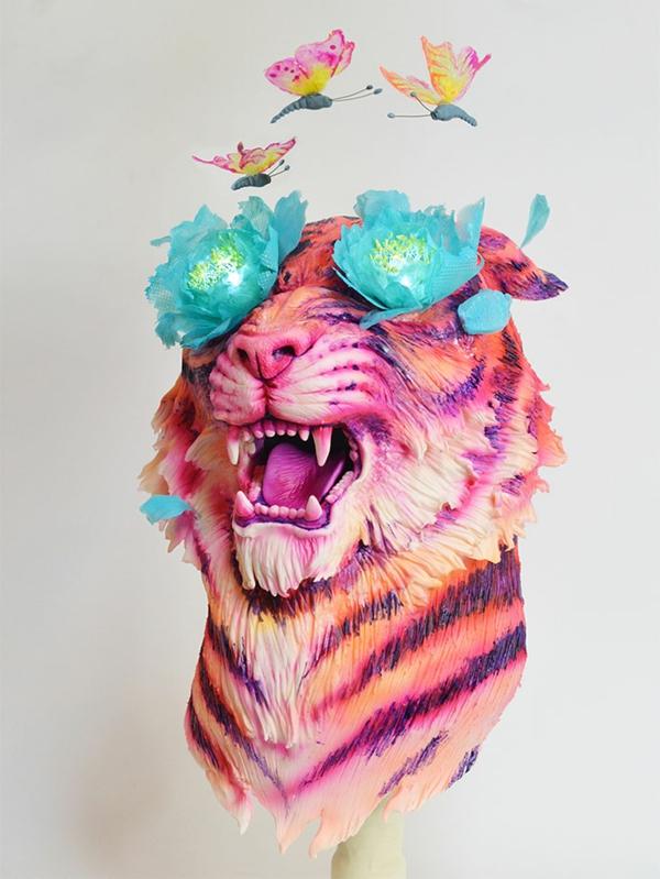 torte dekorieren tiger blumen