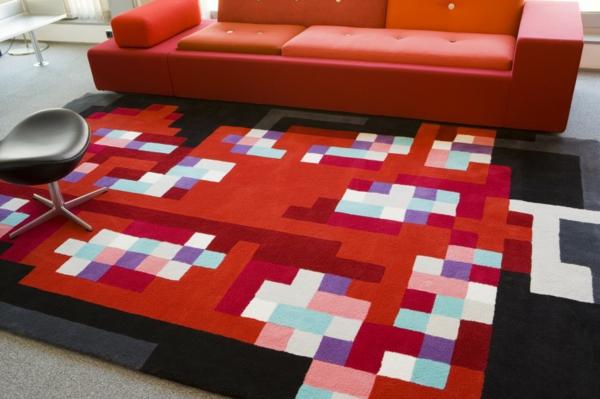 traumteppich modern digitale muster grelle farben mundoalfombra