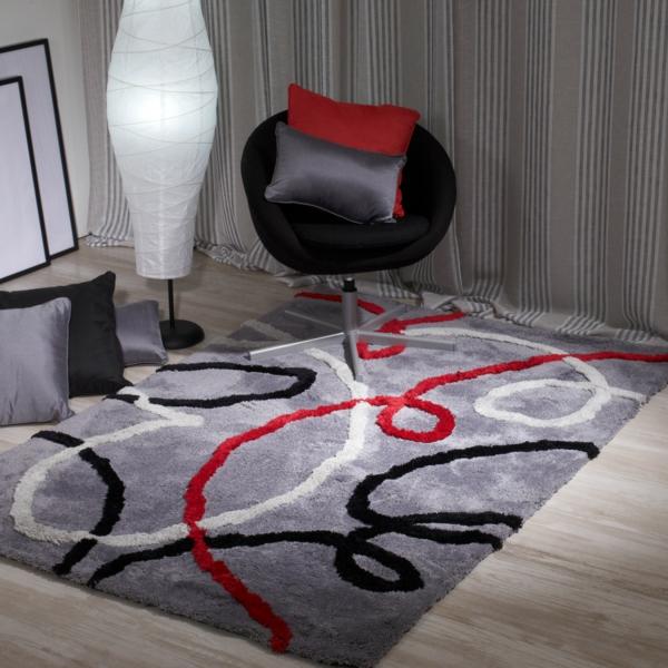 traumteppich modern hellgrau rot schwarz geschwungene linien sancarlos.es
