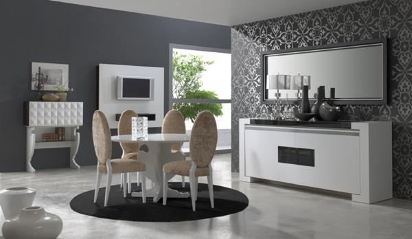 moderner teppich modern minimalistisch rund dunkelgrau graue nuancen