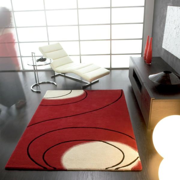 traumteppich rot schwarz feine kreise designer möbel