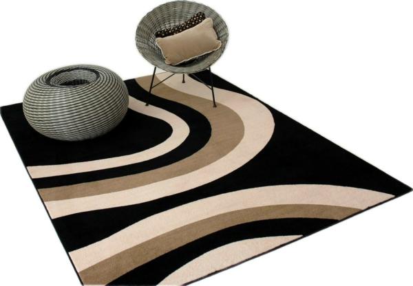traumteppich moderne muster wellen schwarz beige braun