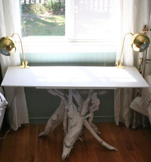 treibholz wohnzimmertisch selber bauen weiß glanz