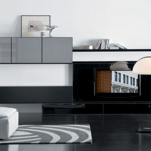 tv schrankwand grau teppich muster farben