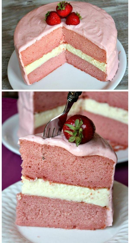 valentinstag torte erdbeeren creme