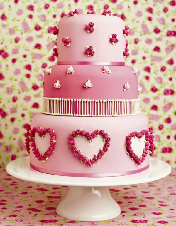 valentinstag torte rosa schleife rosen