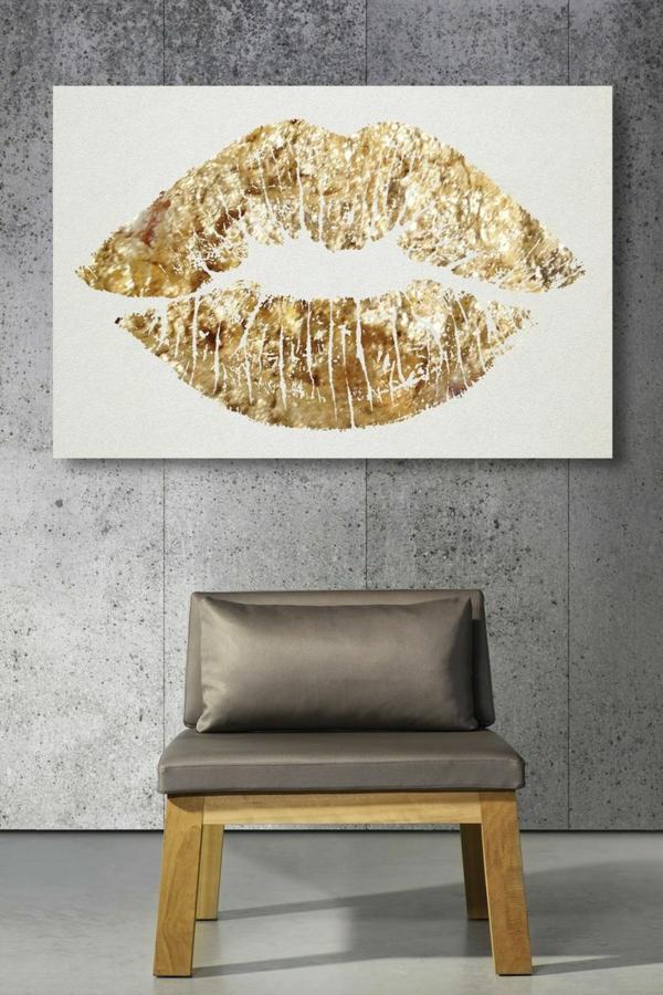 wanddekoration bilder golden küssen