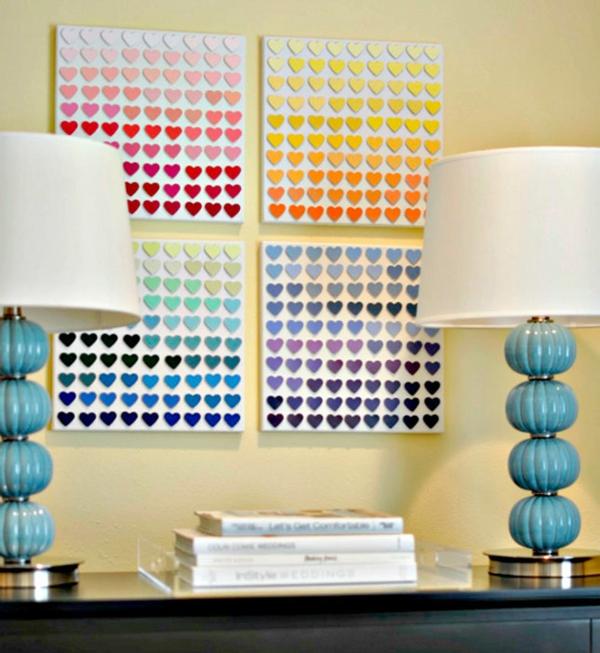 wanddekoration ideen bilder herzen farben