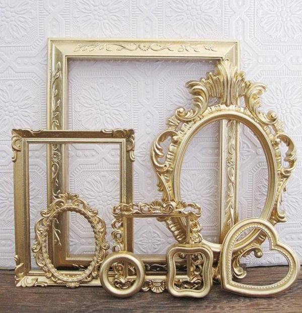 wanddekoration ideen bilder spiegelrahmen golden