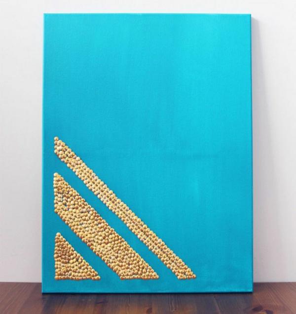 wanddekoration ideen bilder türkis leinwand golden