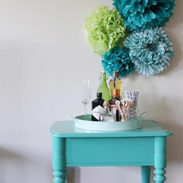 wanddekoration ideen selber machen blau grün