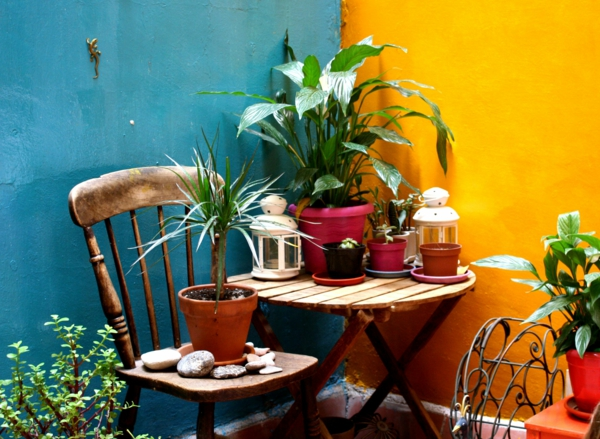 wandfarbe türkis gelb mexiko stil