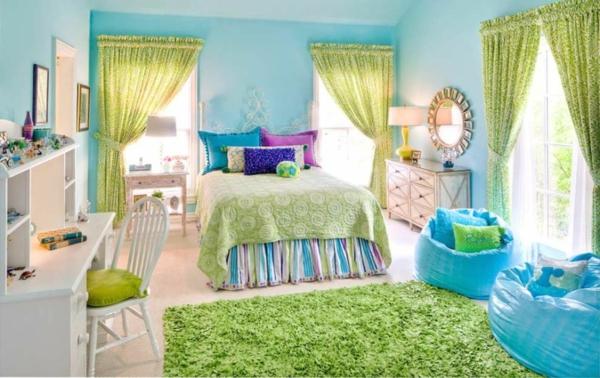 wandfarbe türkis gelbgrüne vorhänge hochflor teppich