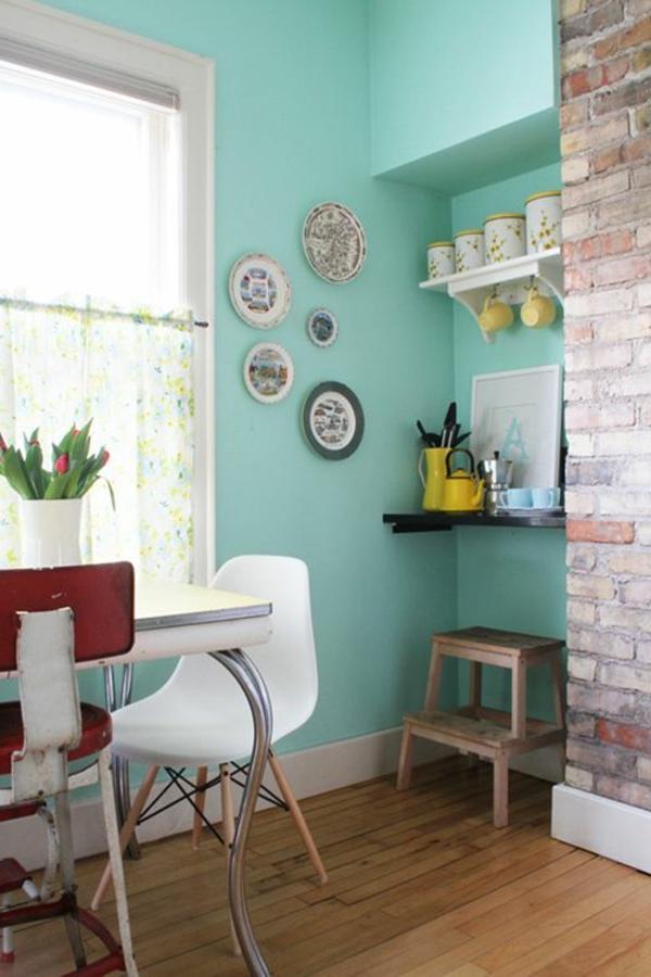wand farbe türkis küche offene ziegelwand