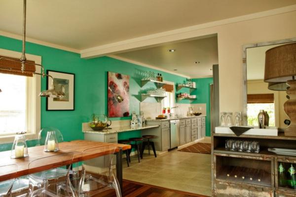 wand farbe türkis küche offener wohnplan