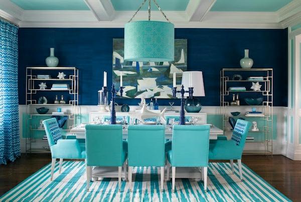 Wand Farbe Türkis Marineblau Esszimmer Gestreifter Teppich