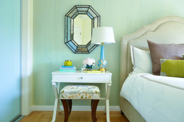wand farbe türkis schlafzimmer spiegel