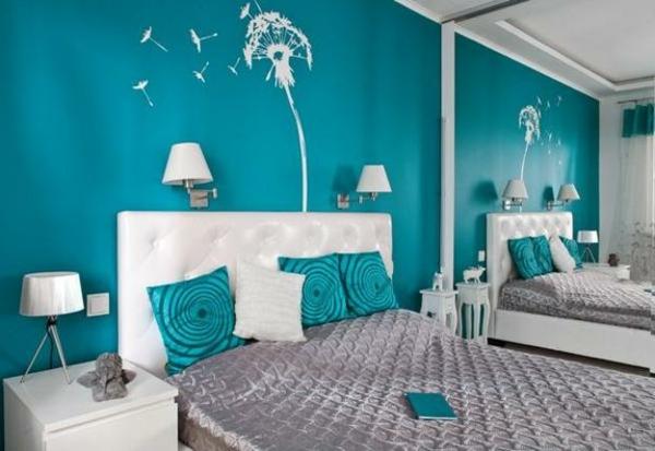 wandfarbe türkis schlafzimmer wandtattoo