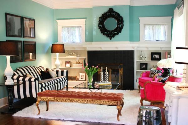 wand farbe türkis wohnzimmer gestreifte couch