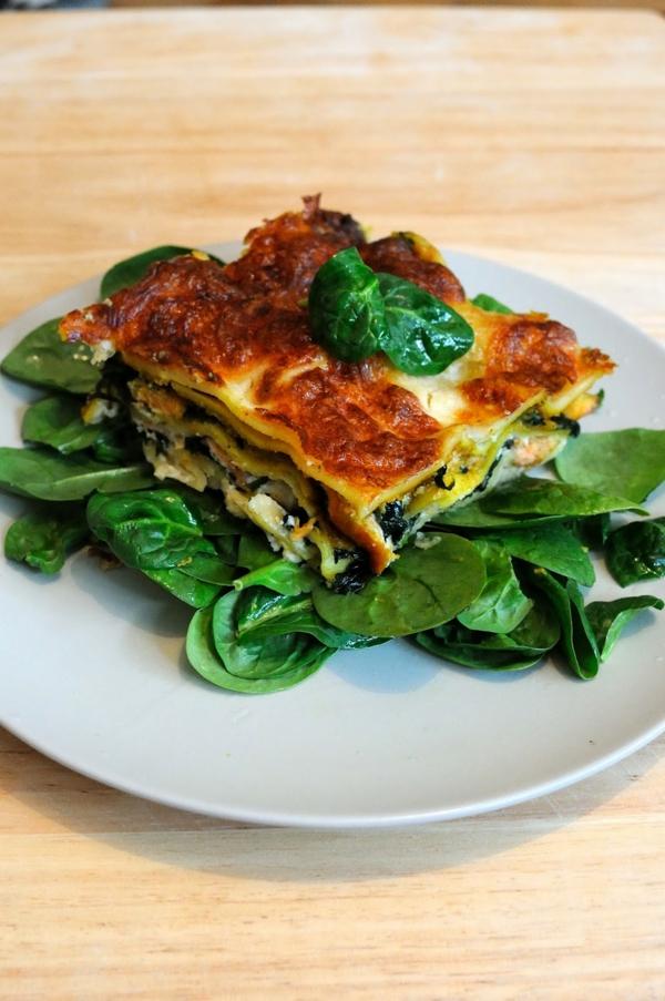 Weihnachtsessen Rezepte Spinat Lachs Lasagne spinatblätter
