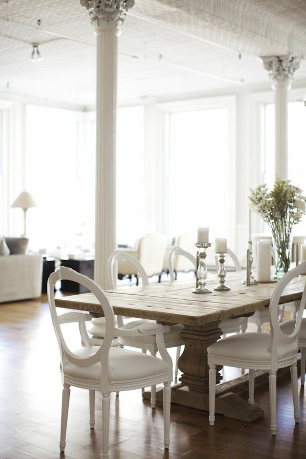 weiße lederstühle esszimmer skandinavisch einrichten rustikaler esstisch