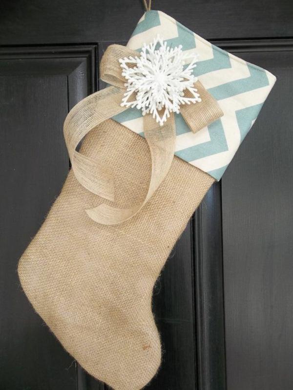 weihnachtsbasteleien nikolausstiefel nähen rustikal hanfgewebe