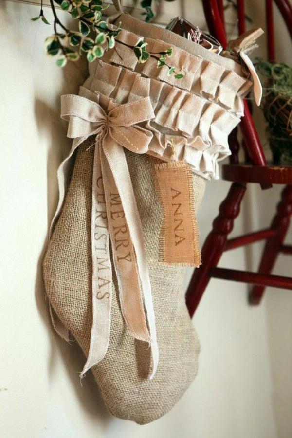 weihnachtsbasteleien nikolausstiefel nähen rustikal