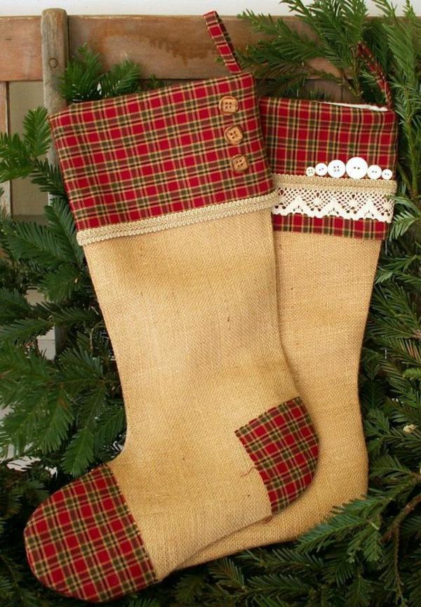 weihnachtsbasteln nikolausstiefel nähen hanfgewebe karomuster