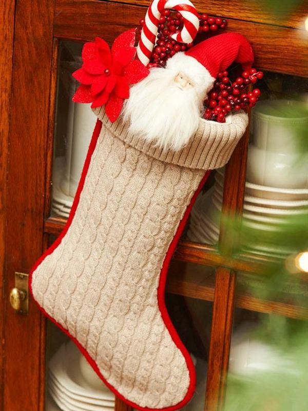 weihnachtsbasteln nikolausstiefel nähen stoff gestrickt