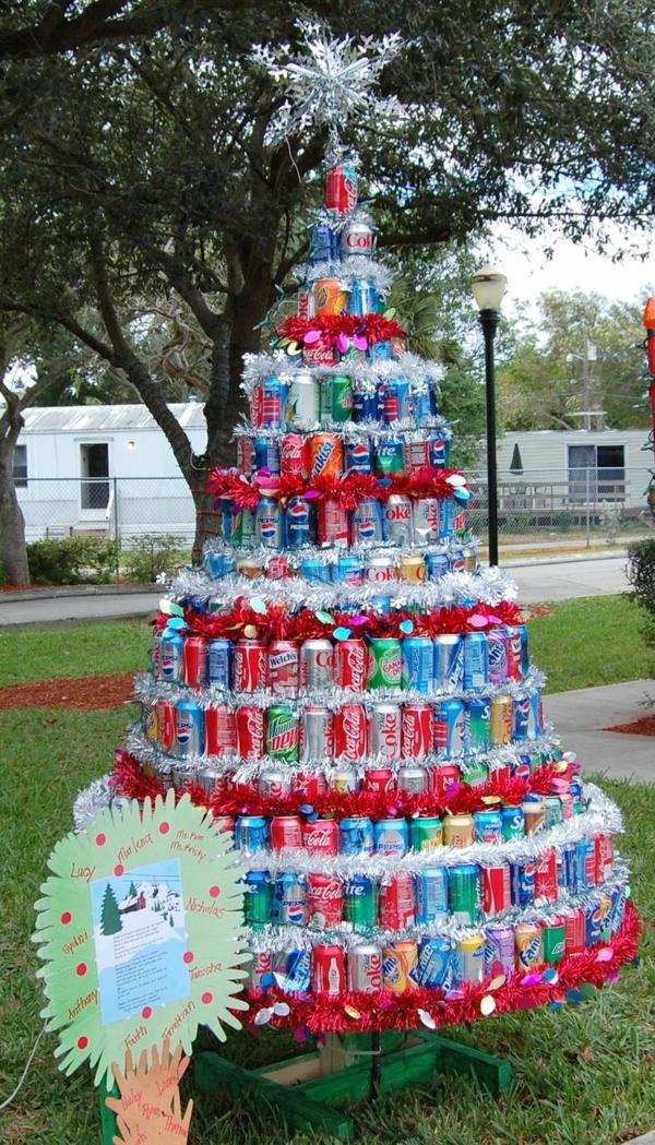 weihnachtsbaumschmuck basteln christbaum selber machen aus getränkedosen