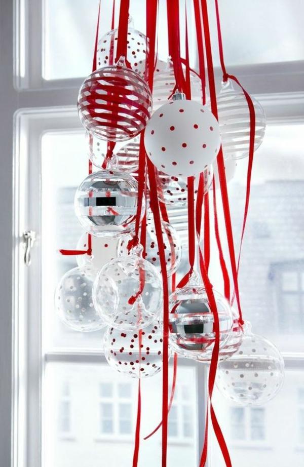 weihnachtsbaumschmuck basteln glaskugeln rote schleifen
