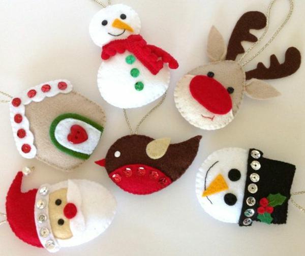 weihnachtsbaumschmuck basteln mit filz diy ideen