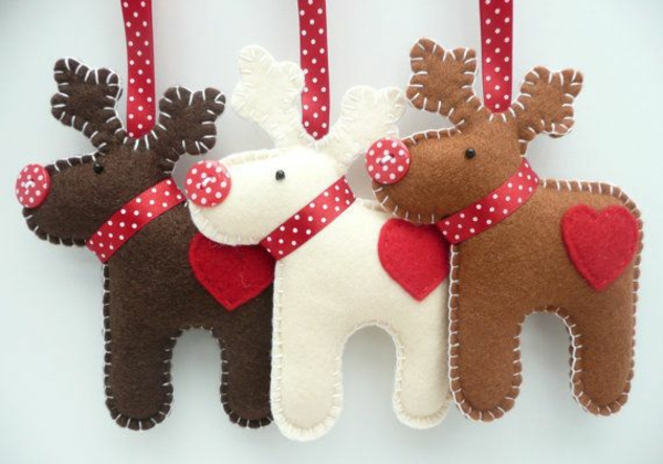 weihnachtsbaumschmuck basteln mit filz weihnachtshirsche