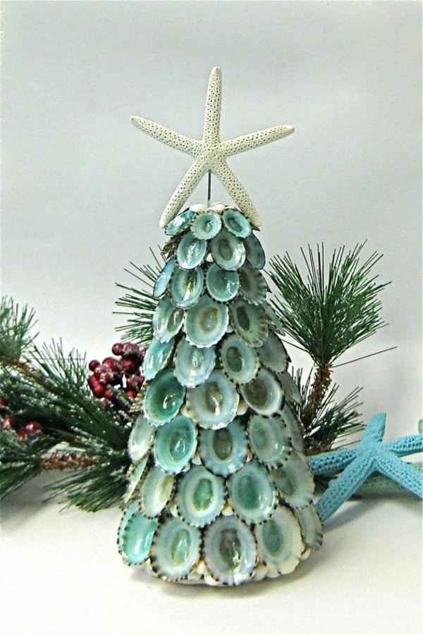 weihnachtsdeko tannenbäume aus muscheln weihnachtsstern meerstern