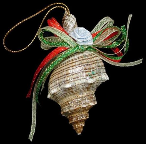 weihnachtsdeko tropischer art baumkugel muschel schleife