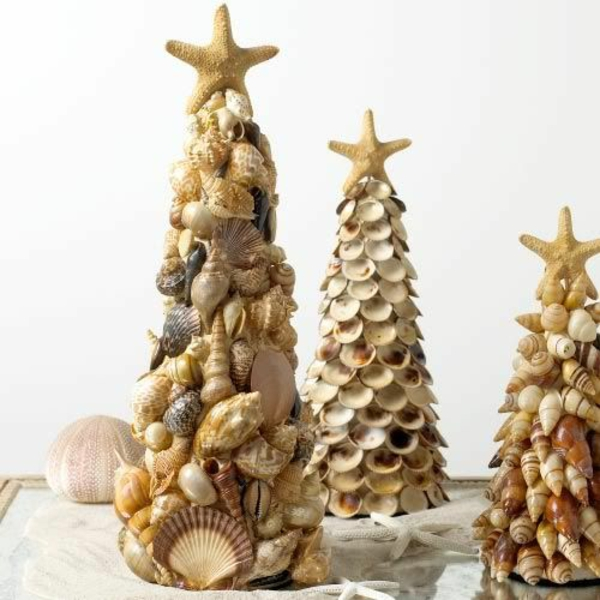 weihnachtsdeko tropischer art tannenbäume aus muscheln basteln