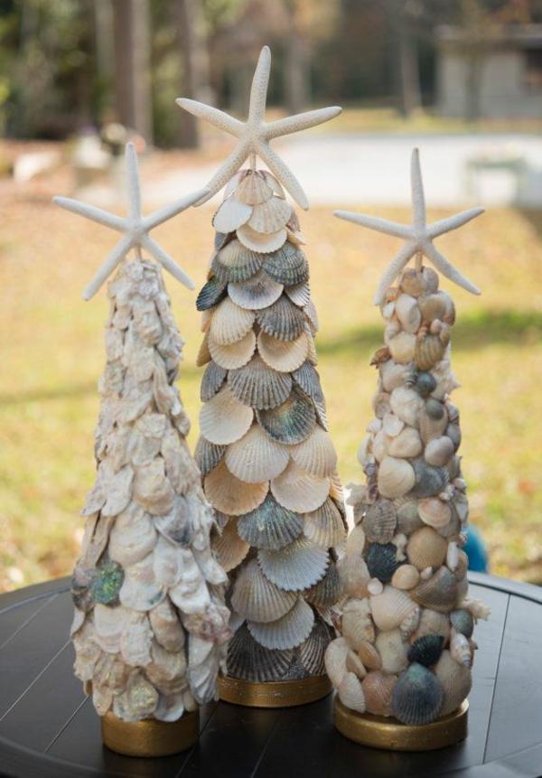weihnachtsdeko tropischer art tannenbäume aus muscheln
