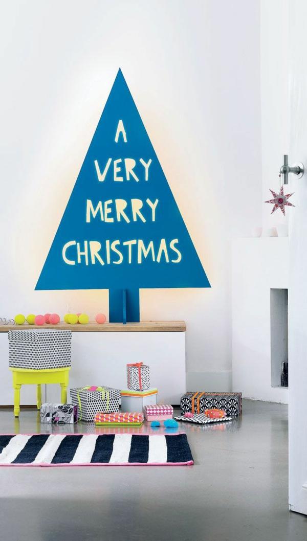 weihnachtsdeko tropischer art wandgestaltung ideen christbaum
