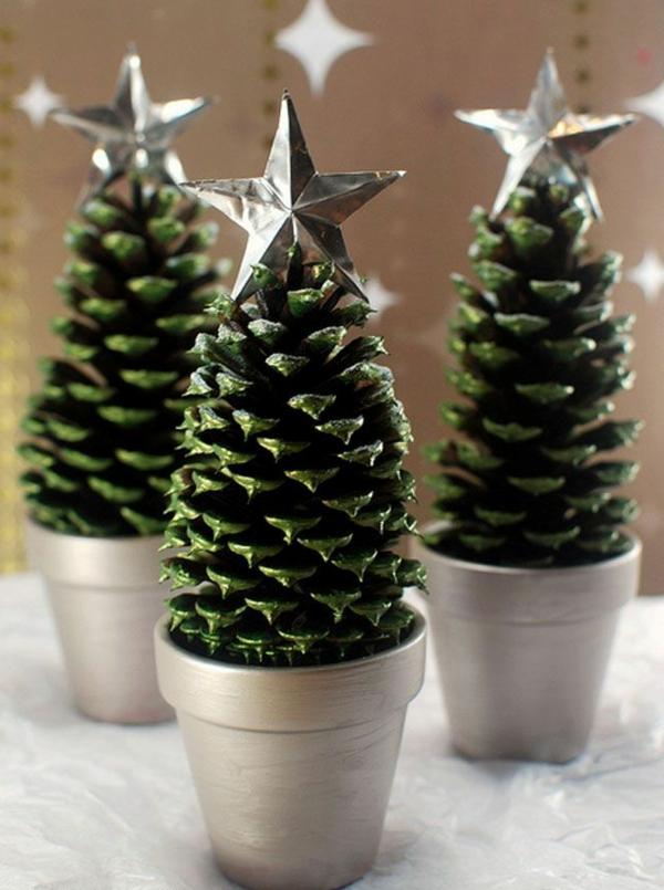 weihnachtsdeko christbaum drei silbersterne