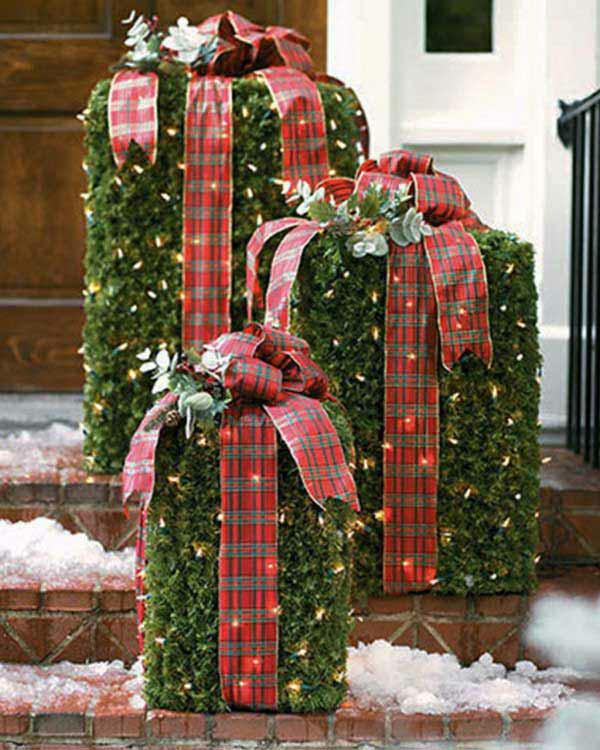 weihnachtsdekoration ideen büsche verpackt
