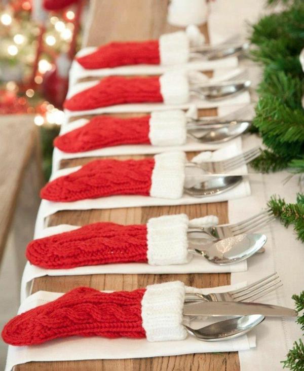 weihnachtsdekoration ideen besteckdeko tischdekoration