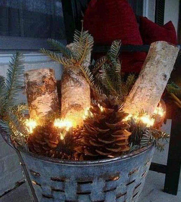 weihnachtsdekoration ideen blecheimer zweige zapfen
