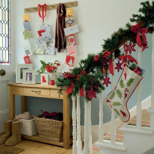 weihnachtsdekoration ideen geländer deko