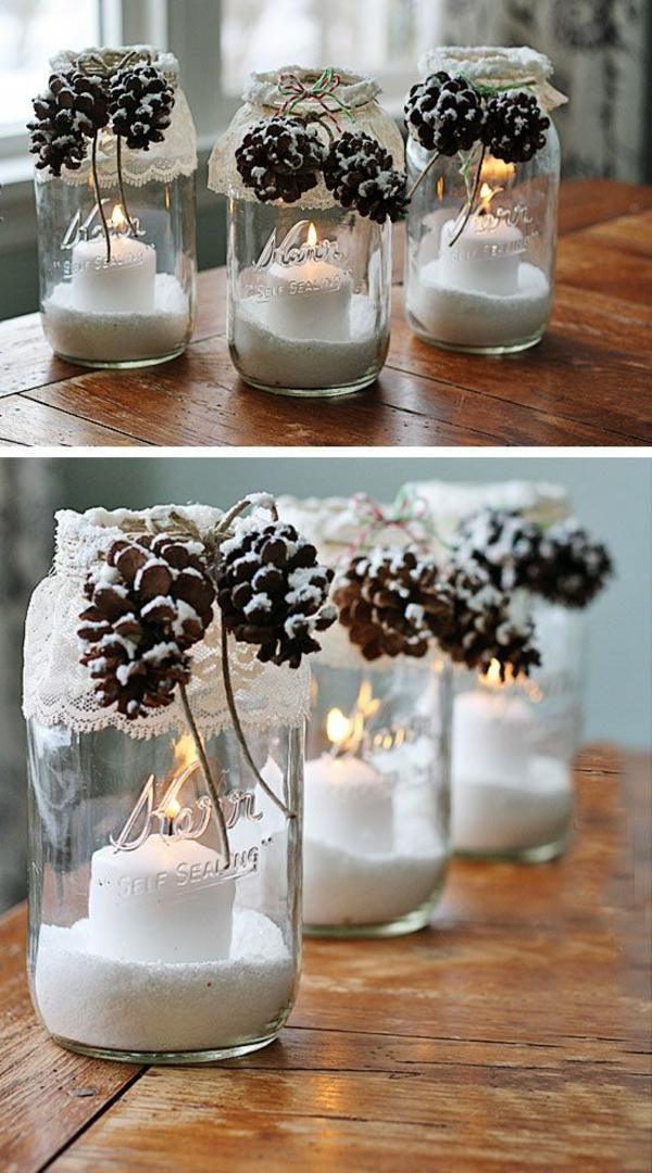 weihnachtsdeko ideen gläser spitze kunstschnee zapfen