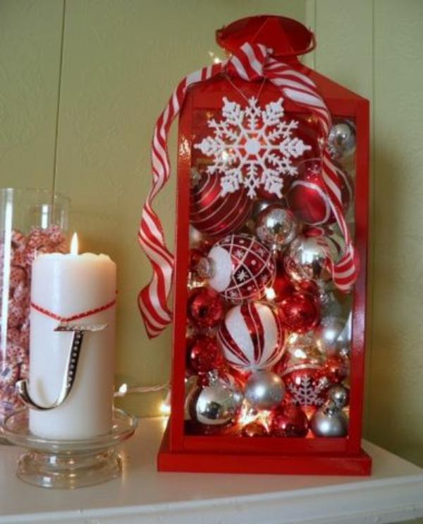 weihnachtsdekoration ideen rote laterne weihnachtskugeln