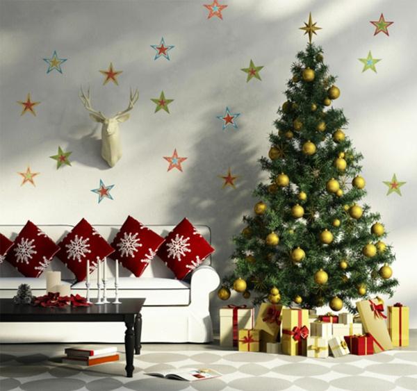 weihnachtsdekoration ideen schneekristallen kissen christbaum - Weihnachtsdeko Ideen
