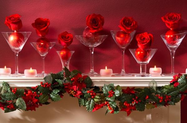 weihnachtsdekoration ideen stechpalme rote rosen